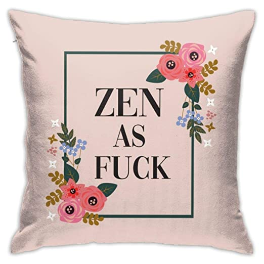 Jacklee Cotton Throw Pillow Case Funda de cojín Zen As Fuck ...