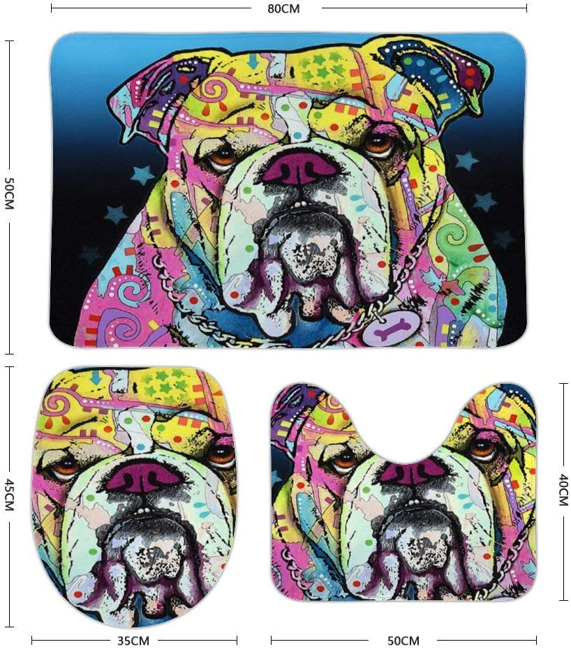 Loongbc Cottage Helper English Bulldog Colorful Cute Pattern 3 Pieces Mats Sets,Soft Comfort Coral Velvet Bathroom Mats,Non-Slip Absorbent Toilet Seat U Contour Cover Bath Mat Lid Cover