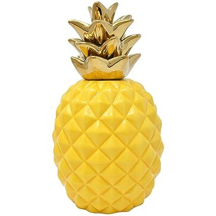 Gift Boutique 9u201d Elegant Ceramic Pineapple Centerpiece Decor Yellow With  Gold Metallic Crown Figurine Modern Coffee Desk Table Room Kitchen Home  Decorative ...