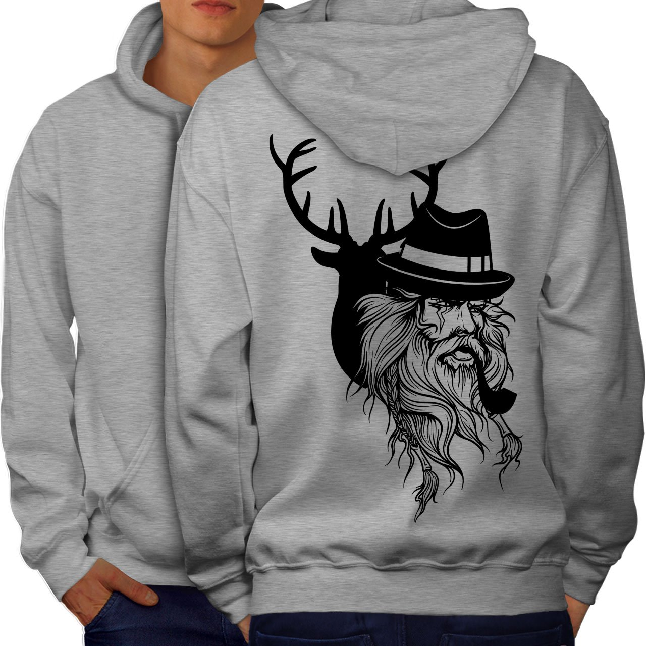 wellcoda Deer Human Wild Fantasy Mens Hoodie Pipe Printed on The Jumpers Back