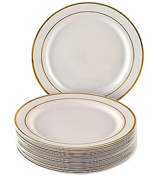 Golden brillos colección elegante China vajilla desechables plato redondo marfil con borde dorado (para bodas, fiestas y eventos - Platos de plástico (20 ...