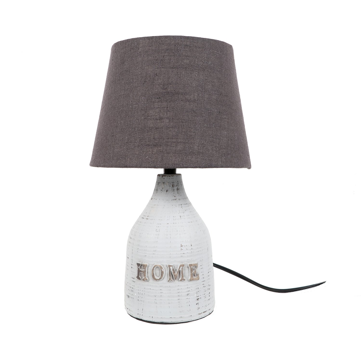 DEI Home Lamp with Textured Shade SM Décor, Medium, White