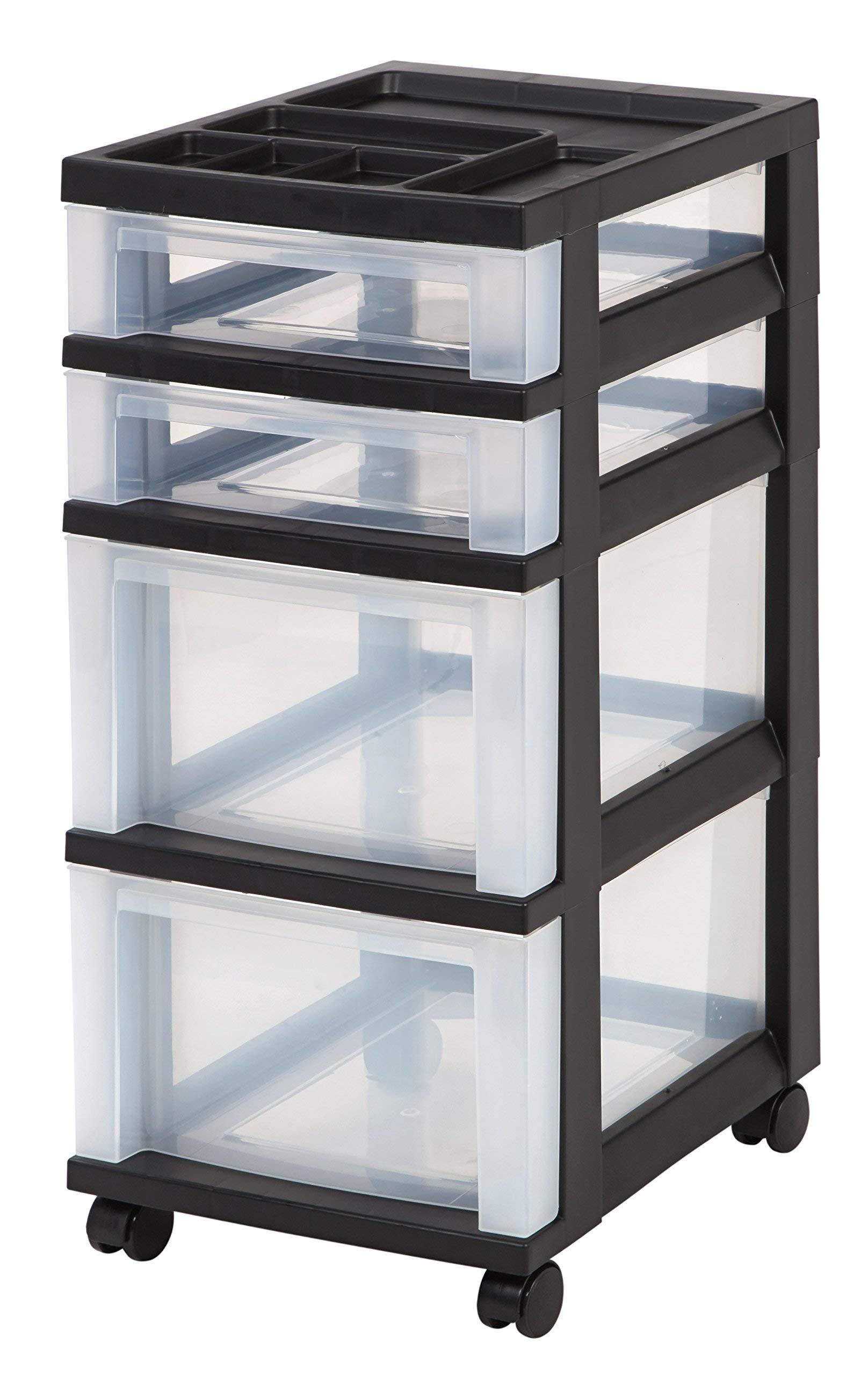 Best Choice 4-Drawer Rolling Storage Cart with Organizer Top, Black