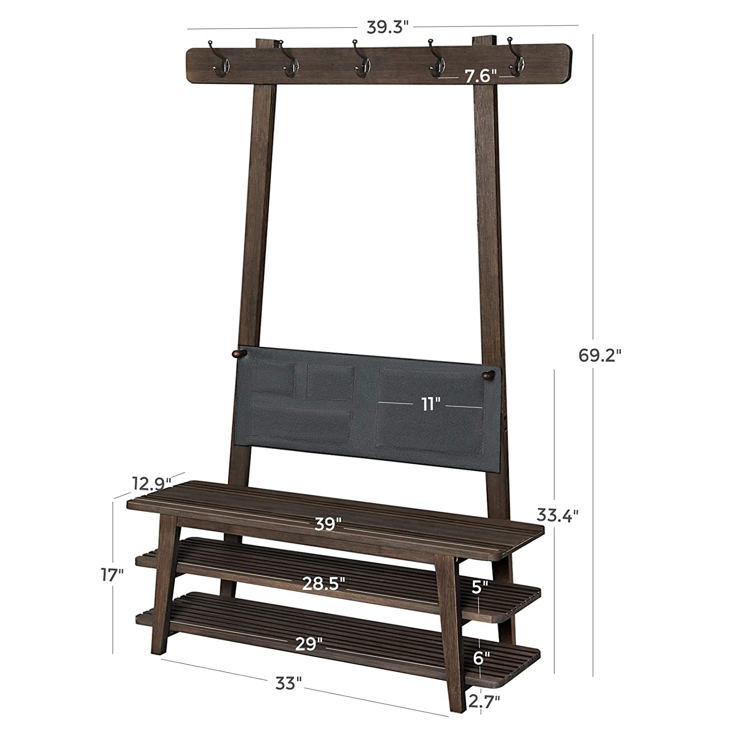 Storage Organizer in Tower Design Stable Shoe Rack for Entryway Coat Rack with Storage Bag 39.4 x 13.2 x 69.7 Inches Living Room VASAGLE Bamboo Hall Tree Bedroom Walnut Color ULHT100WN