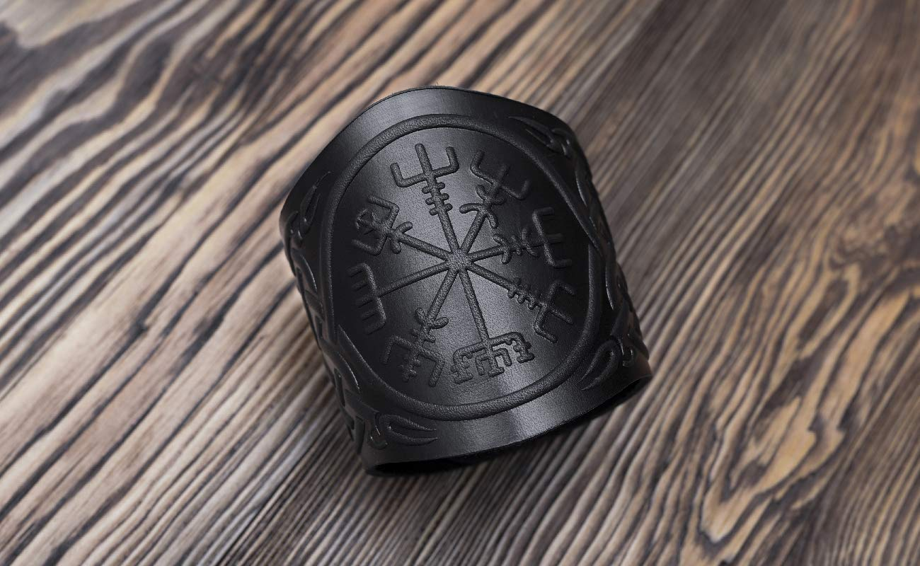 Size 6-7 inch Viking Compass Genuine Leather Bracelet Punk Viking Bracelets Vegvisir Viking Leather Bracelet for men Mens Leather Wristband