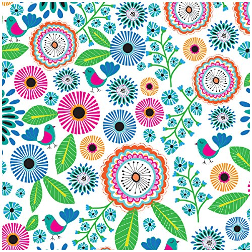 Jillson Roberts 6-Roll Count All-Occasion Floral Gift Wrap Available in 11 Different Designs, Pretty Petunia