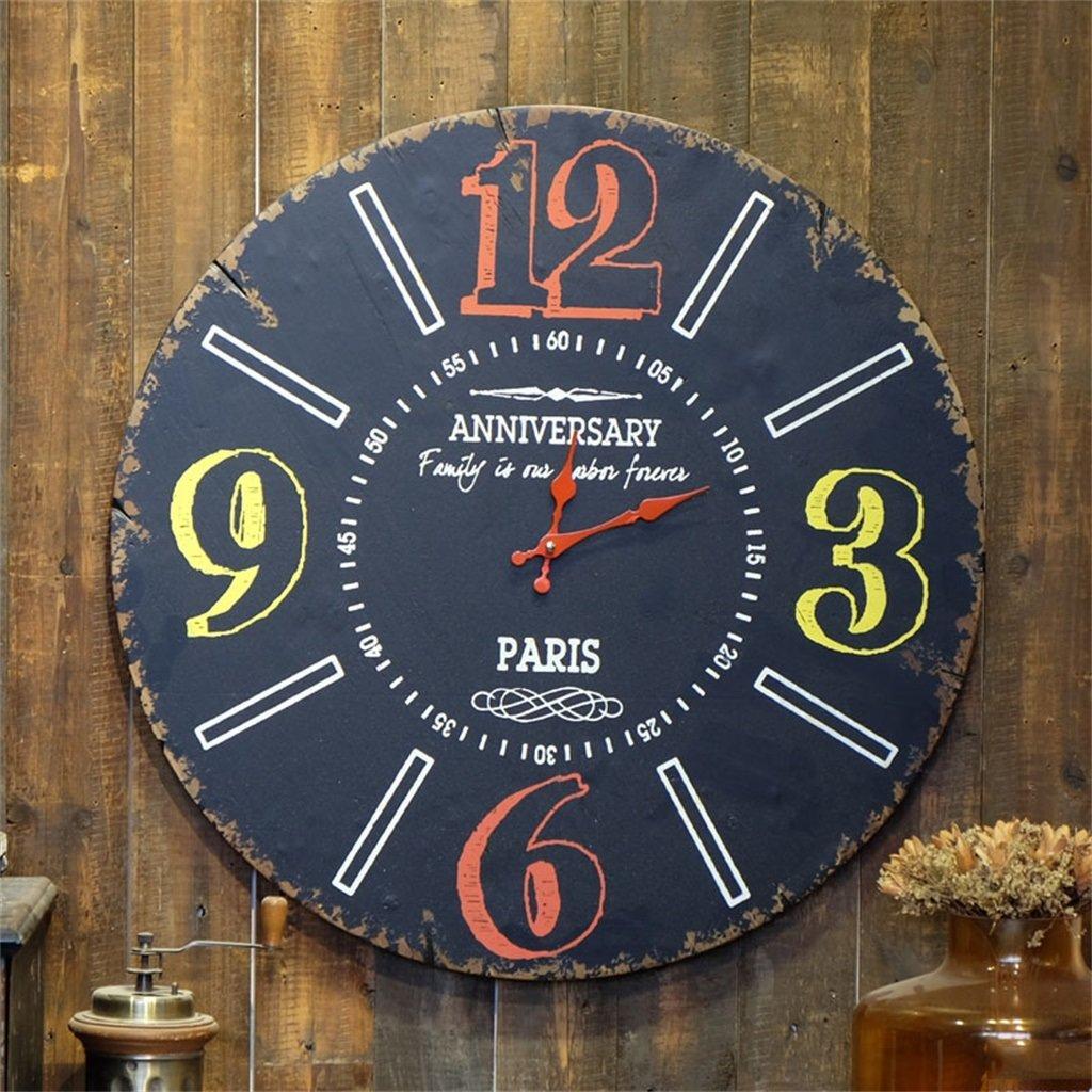 YFF-壁時計 アメリカの国レトロノスタルジックブラックウォールクロックファッションクリエイティブカフェバーリビングルームベッドルームスタディ壁掛け時計 直径60 B07CR28VDF