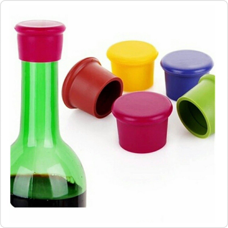 Sungpunet 5pcs en silicone Bouchon à vin/bière sealer Couverture, couleurs assorties, Coque en silicone Bouchons de bouteilles de vin