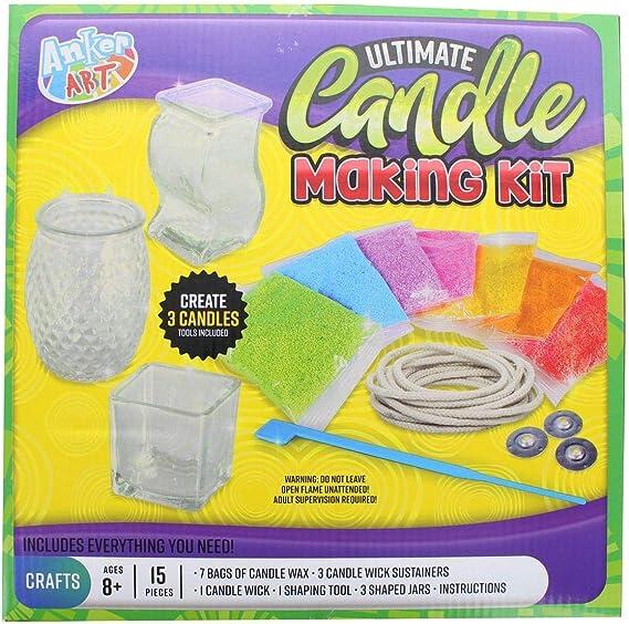 Dochten Mirror Kerzenherstellung Set Candle DIY Kit Set Rechoo Anf/änger Candle Starter Set zur Herstellung einer Kerze mit Kerzenduft mit Schmelztiegel Kerzendosen Dochtaufklebern Bienenwachs