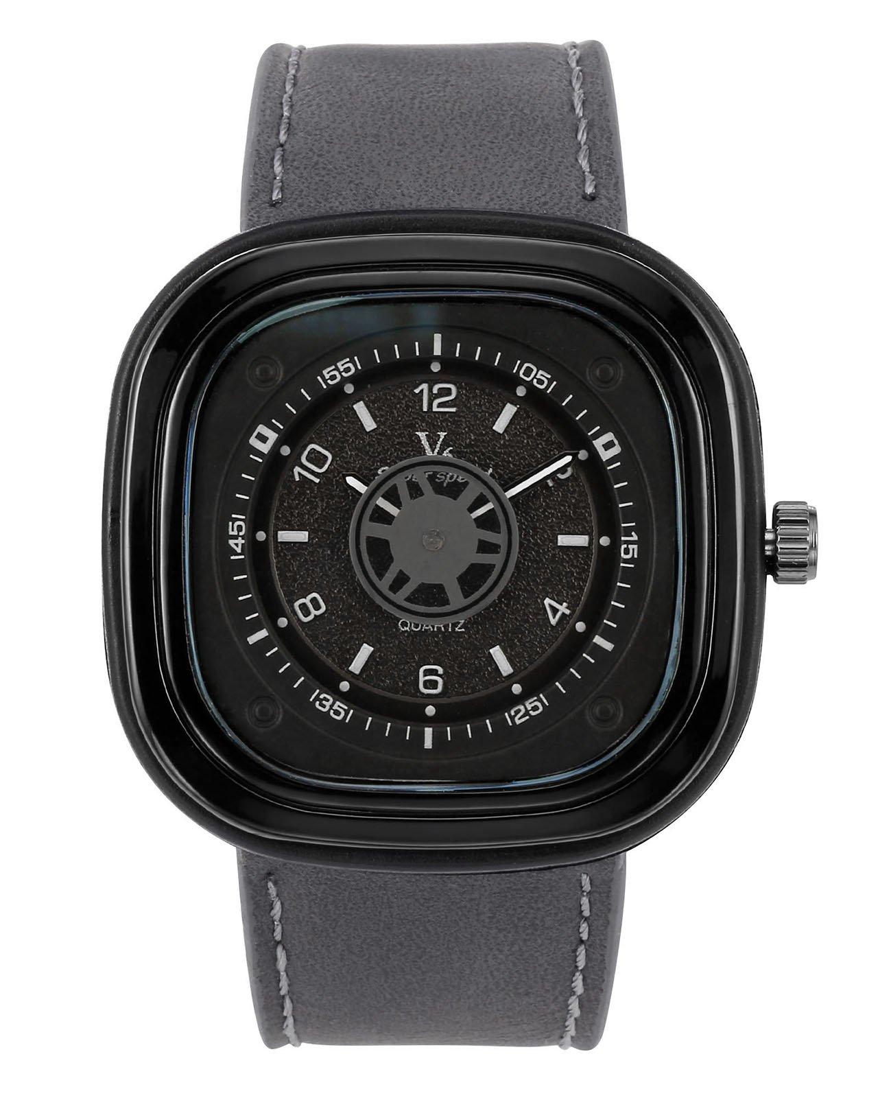 JSDDE Uhren,Retro Herren Armbanduhr 3ATM Wasserdichte Armbanduhr Lederarmband Zahnrad Sekundenzeiger Quadrat Quarzuhr,Silbergrau