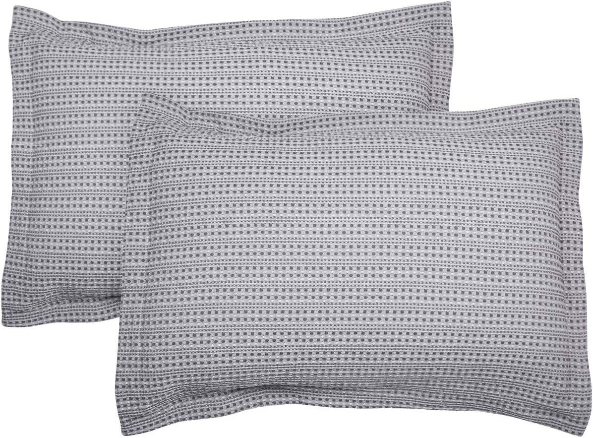 PHF Cotton Waffle Weave Pillow Shams Covers, Standard Size (20