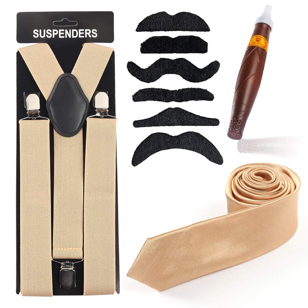 Cigar Sigaro Finto Giocattolo Cravatta Gangster Bretelle Y-Back Beelittle Menss Accessory Set Manhattan Cappello