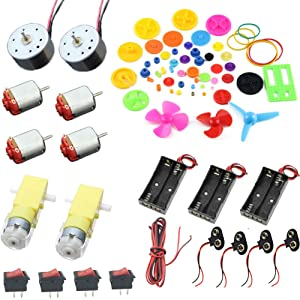 Delinx Homemade DIY Project Kits: DC Motors,Gears,propellers,AA Battery case, Cables,on/Off Switch,9V Battery Clip