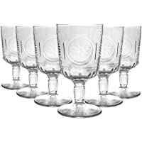 Bormioli Rocco Romantic Wine Glasses Set - Vintage Italian Cut Glass Goblets for Red White Wine - 320ml - Pack of 6