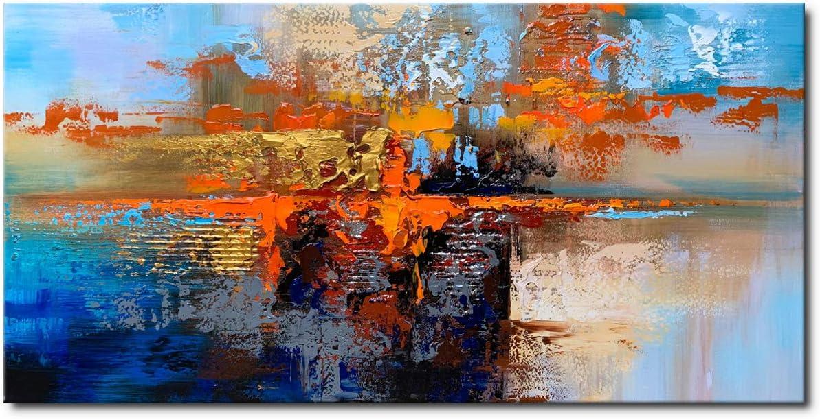 Winpeak Art Handmade Blue Abstract Artwork Textured Modern Oil Painting on Canvas