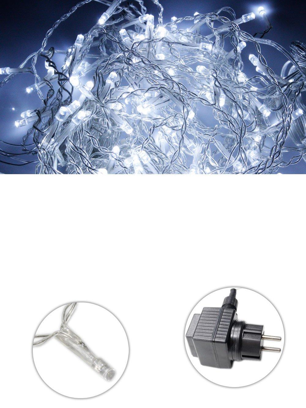 Vetrineinrete® Luci natalizie led per esterno filo trasparente catena serie 480 led luce bianca fredda 38 metri impermeabile IP44 addobbi natalizi decorazioni abete esterno giochi di luci B60