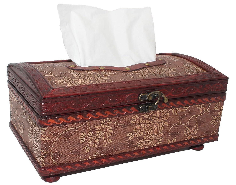 Rectangle Tissue Box Cover, Vintage Wood Toilet Tissue Box Holder, Large Handmade Decorative Tissue Dispenser ZOHUMI