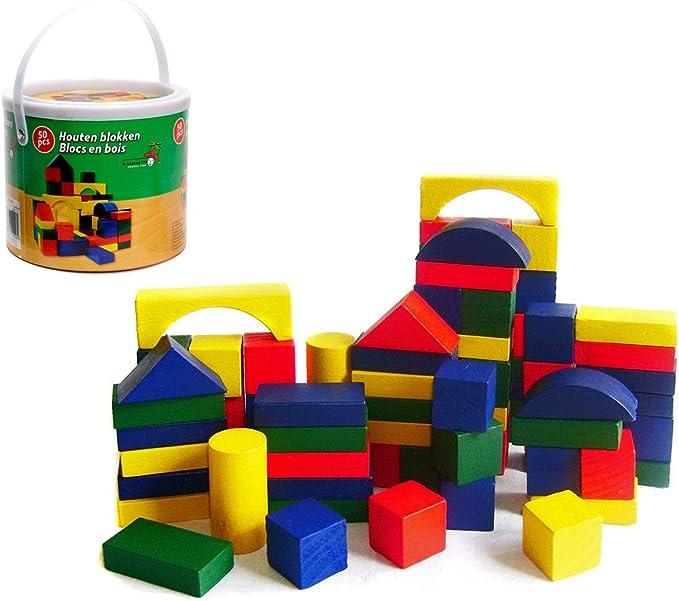 MEDIA WAVE store 44026 Bidoncino di mattoncini in Legno 50 pz Adatto per Bambini dai 2 Anni