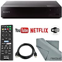 Sony BDP-S3700 Wi-Fi Blu-Ray Disc Player with HDMI Cable + Remote + FiberTique Cleaning Cloth