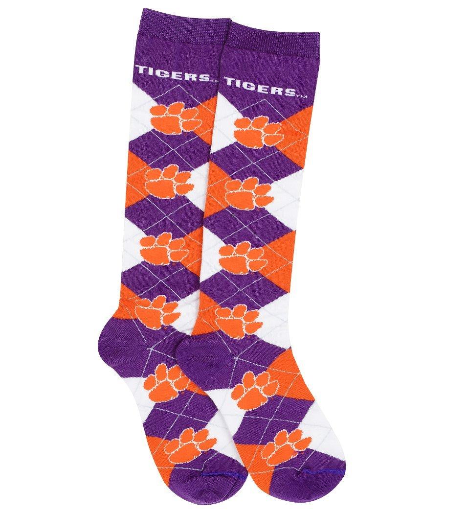 For Bare Feet NCAA Repeat Logo Argyle Knee High Socks-Medium-Clemson Tigers