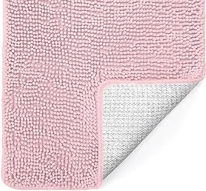 Gorilla Grip Original Luxury Chenille Bathroom Rug Mat, 44x26, Extra Soft and Absorbent Shaggy Rugs, Machine Washable, Quick Dry Bathmat, Plush Carpet for Tub, Shower Bath Room Floor Mats, Light Pink