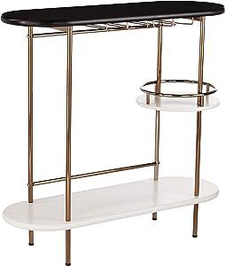 Furniture HotSpot 3 Tier Bar Cart Entertainment Cart - Glassware Rack - Circular Shelf