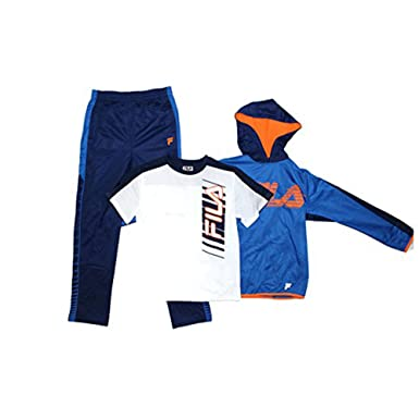 60b9eb67cc1 Amazon.com: Fila Boys Athletic Logo 3 Piece Activewear Hoodie and Pants  Set: Clothing