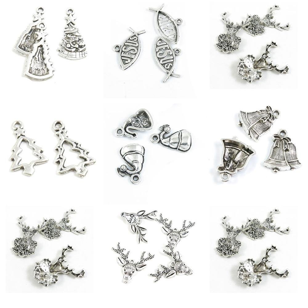 27 Pieces Antique Silver Tone Jewelry Making Charms Christmas Deer Buck Xmas Bells Hat Tree Jesus Christian Fish