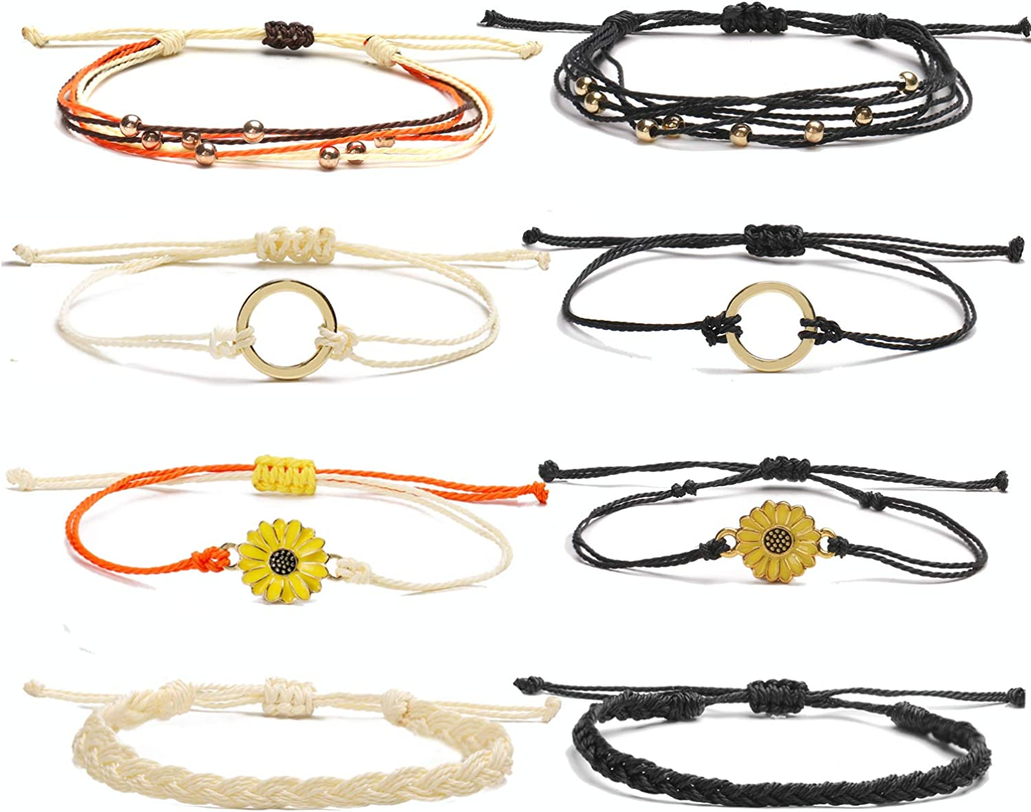 choice of all Sunflower Anklet Bracelet for Women Adjustable String Ocean Wave Ankle Bracelets Beach Boho Hawaii Jewelry Gifts for Girls