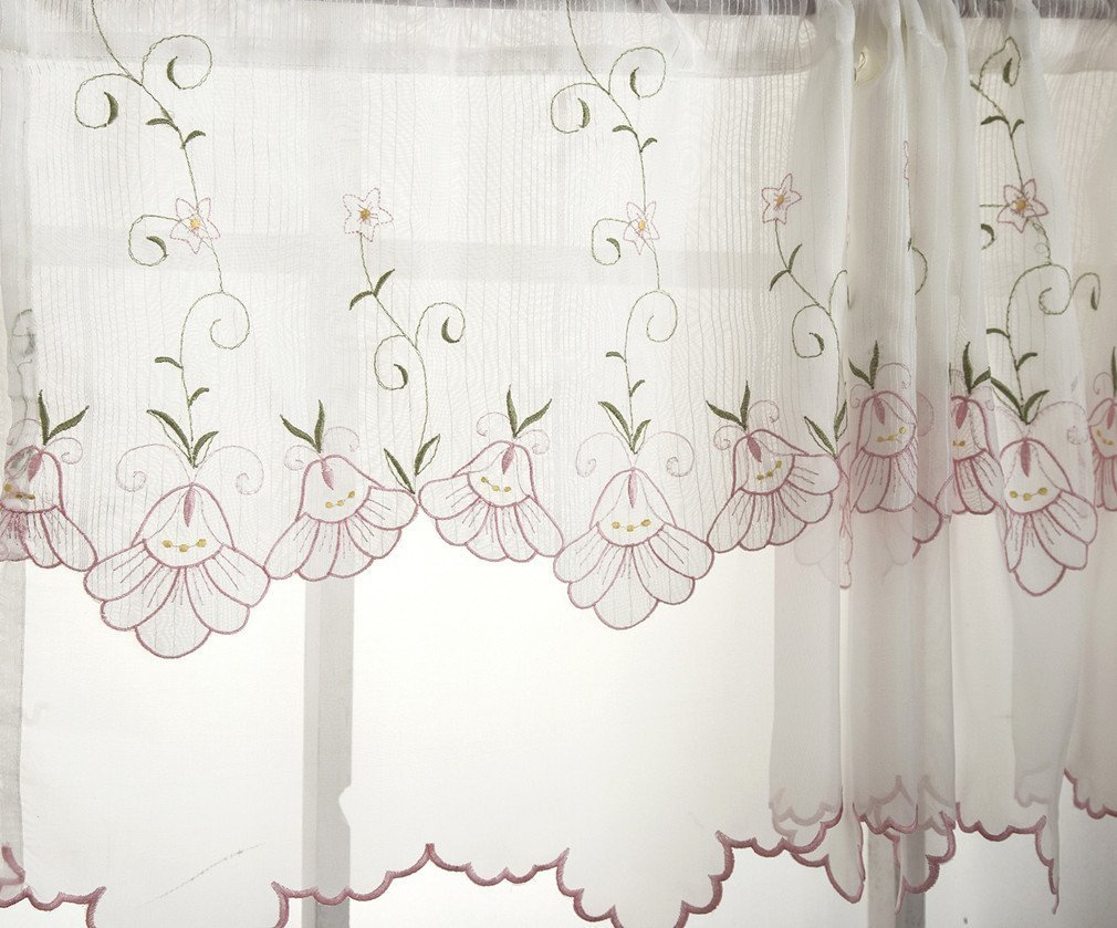 Morning Glory Pattern Cafe Curtain,Pastoral Style Two-Layer Embroidered Floral Window Valance 59 by 17-inch,Pink Flower Romantic Fresh Soft Short Curtain Fashion Art Home Decorations by ZHH