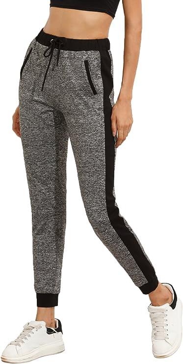 SweatyRocks Women's Pants Color Block Casual Tie Waist Yoga Jogger Pants Black Grey #2 S best women's joggers