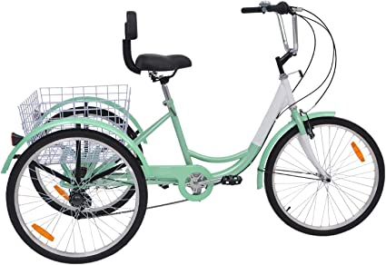 24 inch Tricycles 7 Speed Trikes with Large Storage Basket Three-Wheel Bike for Shopping Cruise Trike for Adults and The Aged
