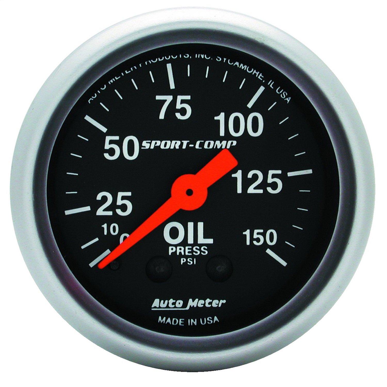 Auto Meter 3323 Sport-Comp 2-1/16' 0-150 PSI Mechanical Oil Pressure Gauge