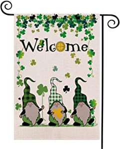 Weimaro St Patricks Day Garden Flag, St. Patrick's Day Gnome Garden Flag, Double Sided Welcome Sharmrock Outdoor Burlap Garden Flag, St Pattys Day Yard Outdoor Decorations, 12.5 x 18 Inch