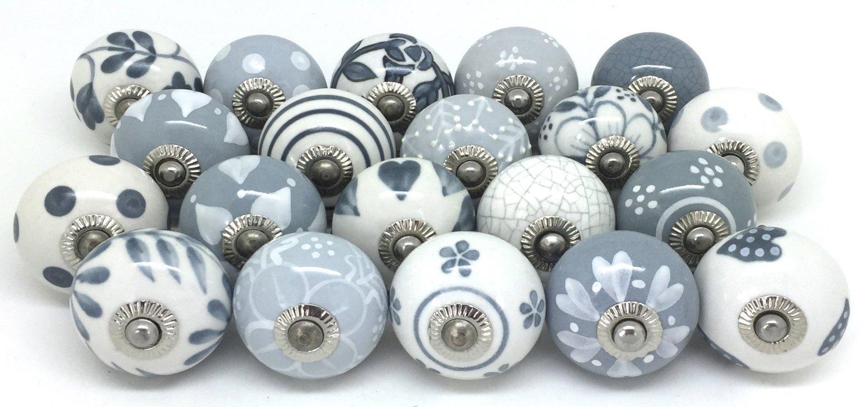 Set of 10 Grey /& White Ceramic Door Knobs Vintage Look
