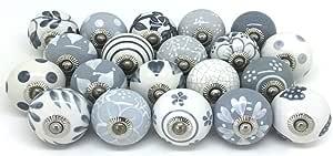 JGARTS 10 Knobs Grey & White Cream Hand Painted Ceramic Knobs Cabinet Drawer Pull Pulls New (10)