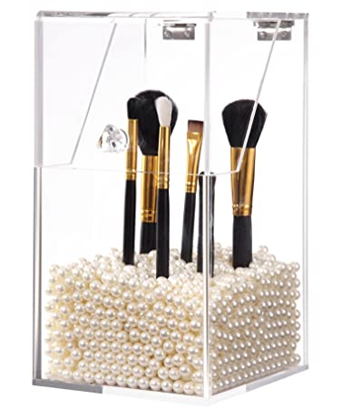 Awesome PuTwo Makeup Brush Holder Dustproof Storage Box Premium Quality 5mm Thick  Acrylic Makeup Organizer, White