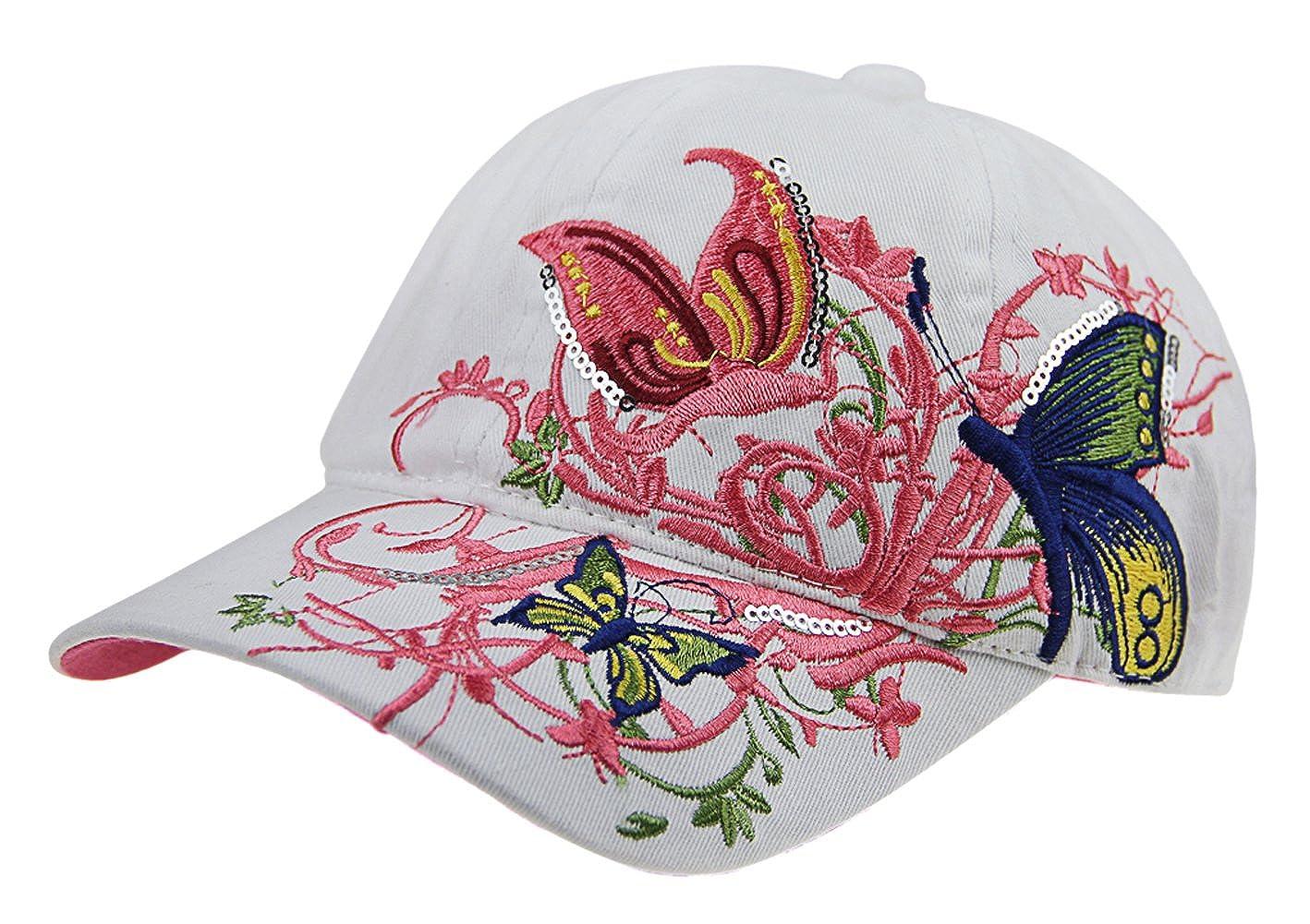 Filles Garçons Casquette de Baseball en Coton Chapeau de Soleil Plat  Papillon Brodé Casquette Visière Sports Réglable Anti-UV Protection Solaire  Hat Hip-hop ... f2c8f132128e