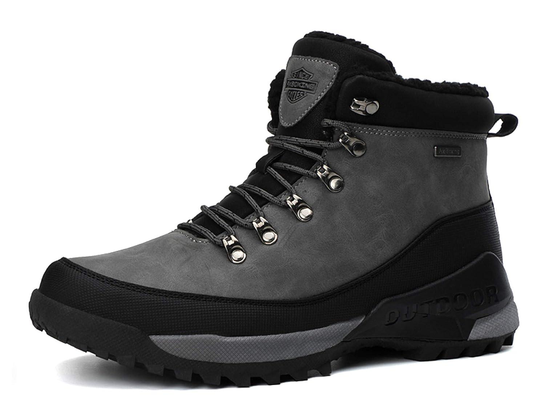 AX BOXING Uomo Stivali da Neve Invernali Scarpe Allineato Pelliccia Caloroso Caviglia Piatto Stivaletti Sportive Boots Escursionismo