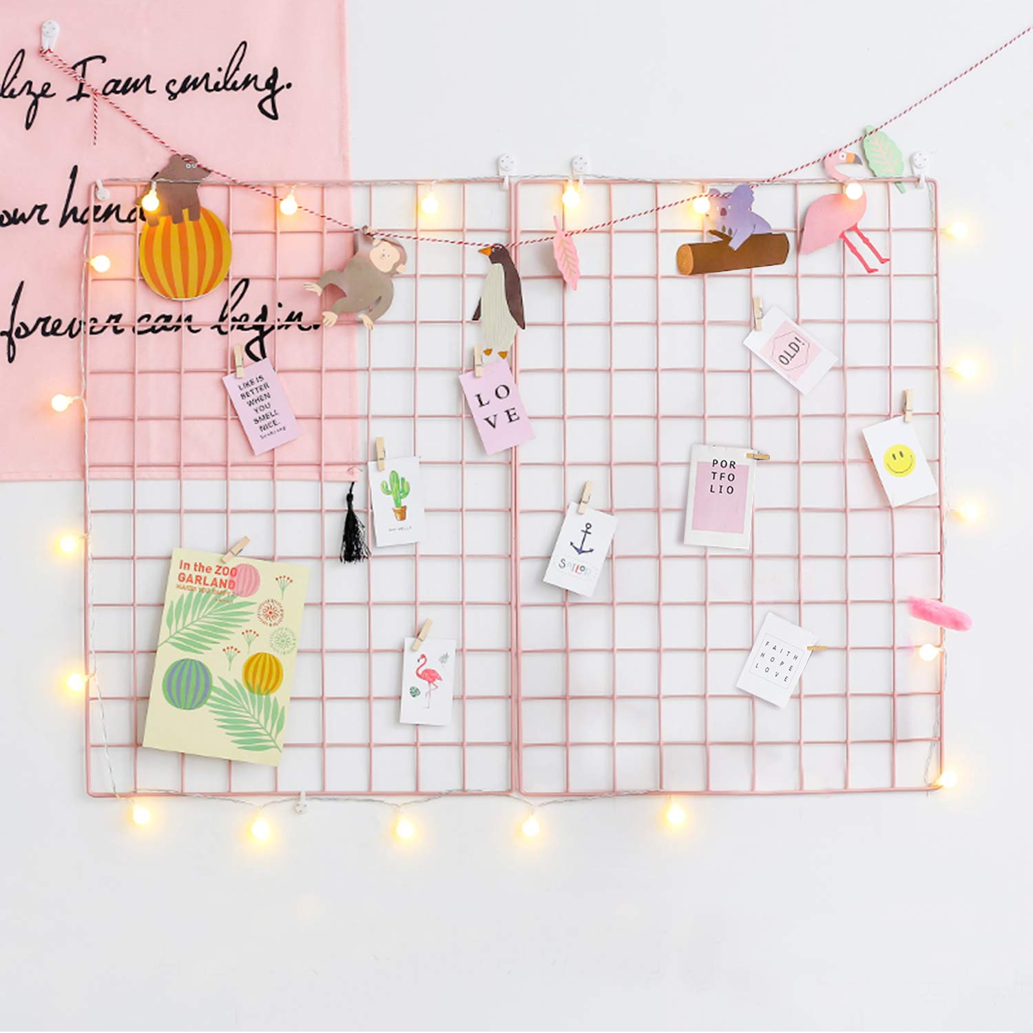 GBYAN Grid Wall Panel (Pack of 2) Decorative Iron Rack Clip, Painted Wire Photograph Grid Wall Hanging Picture Multifunctional Photo Hanging Display Wall Storage Organizer,25.6inch x17.7inch, Pink by GBYAN