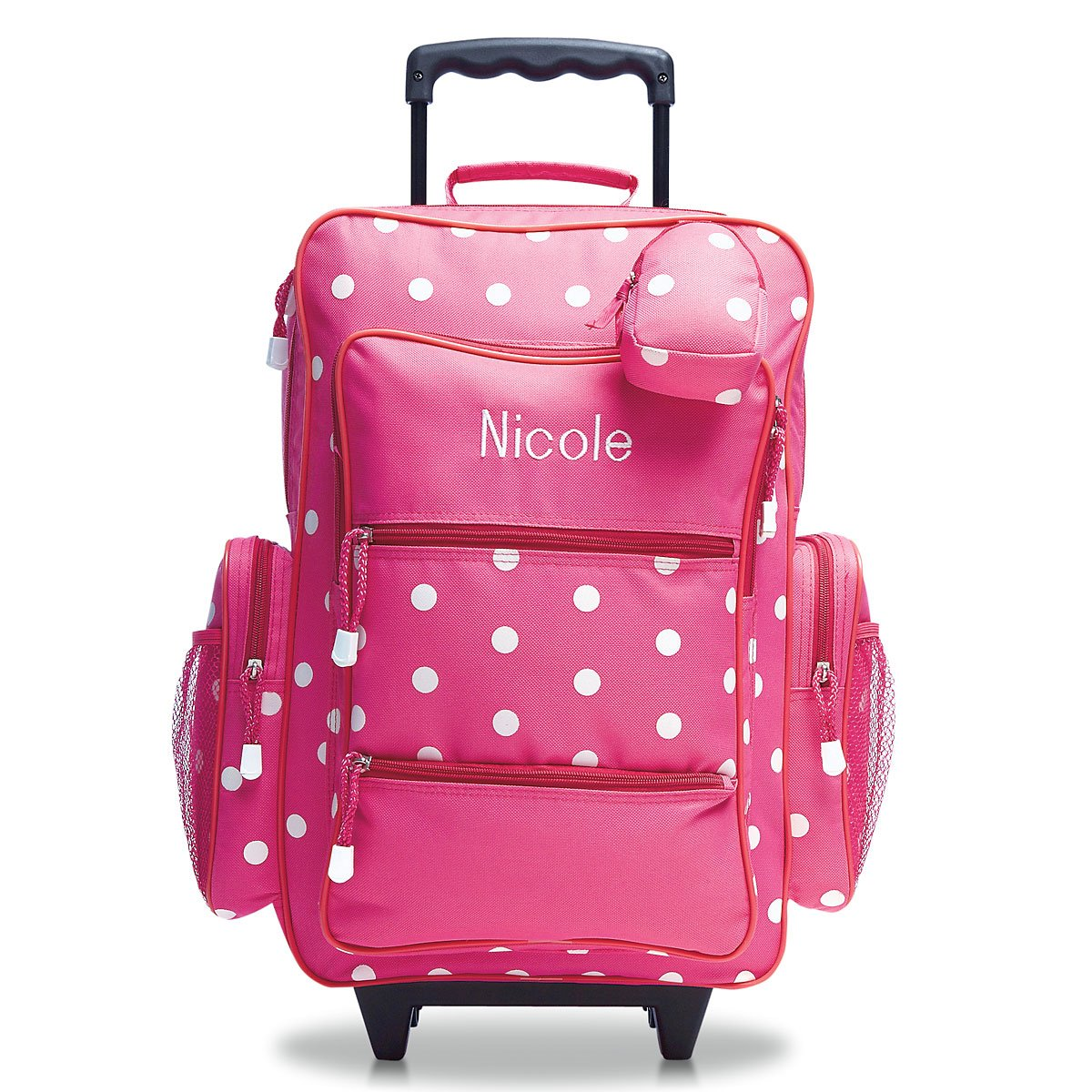 Personalized Rolling Luggage for Kids - Pink Polka Dot Design, 6'' x 15.5'' x 23''H, By Lillian Vernon