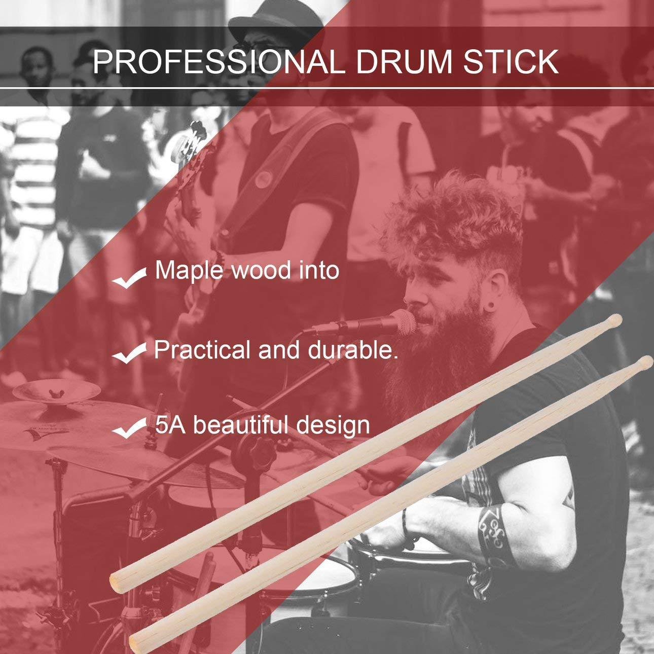 Ajuste liviano para Todos los Tambores adecuados para el Rendimiento del Baterista Ballylelly 1 par de Baquetas Profesionales de Madera 5A para Tambor
