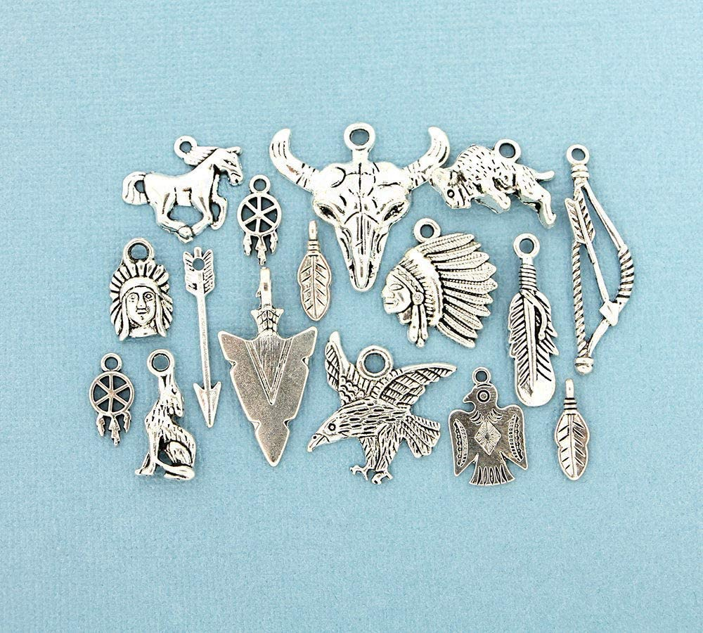 SC1636 6 Leaf Charms Antique Silver Tone 2 Sided