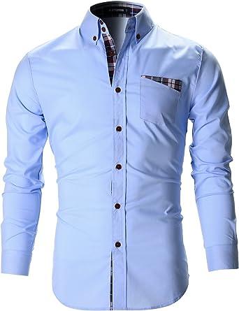 FLATSEVEN Camisas Slim Fit Casual Bolsillo De Parche Cuadros Hombre (SH140) Celeste, L: Amazon.es: Ropa y accesorios