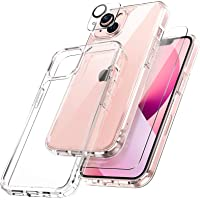 TOCOL 3 in 1 Designed for iPhone 13 5G Case 6.1 inch - with 2Pcs Tempered Glass Screen Protector + 2Pcs Camera Lens…
