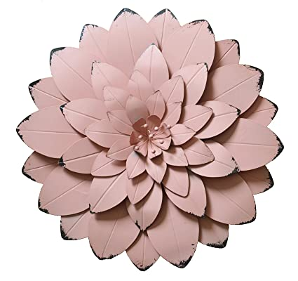 Amazon.com: GIFTME 5 Metal Floral Wall Art Decor, 22 inch,Large,Pink ...