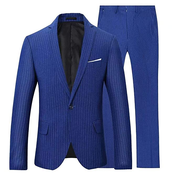 High-End Suits Royal Blue Pinstripes Men Suit Slim fit ...
