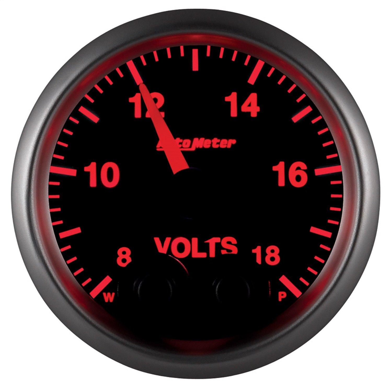 AutoMeter 5683-05702 NASCAR Elite Voltmeter Gauge 2-1/16 in. Black Dial Face 38 User Selectable LED Colors Electric Digital Stepper Motor 8-18V NASCAR Elite Voltmeter Gauge