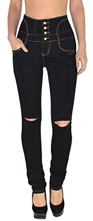 0ebe3ec2afe by-tex Womens Jeans Skinny High Waist Pants for Ladies Knee Ripped Jeggings  Size 6-22 - J22-R