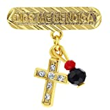 Amazon Price History for:14k Gold Plated Cross Simulated Azabache Evil Eye Protection Charm Pin Brooch